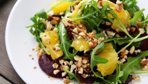 salad with orange and baked beets, food closeup